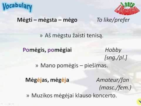 Lithuanian Vocabulary - Hobbies and attractions